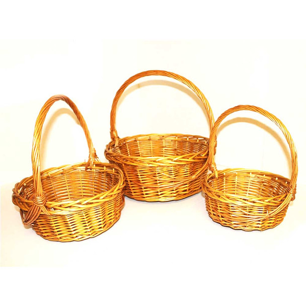 "12"" Honey Round Basket Set of 3"