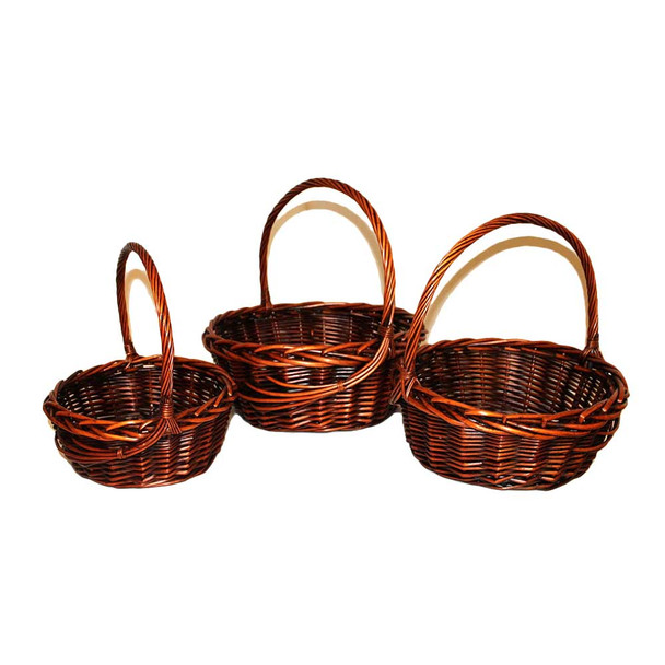 "12.5"" Stain Round Basket Set of 3"