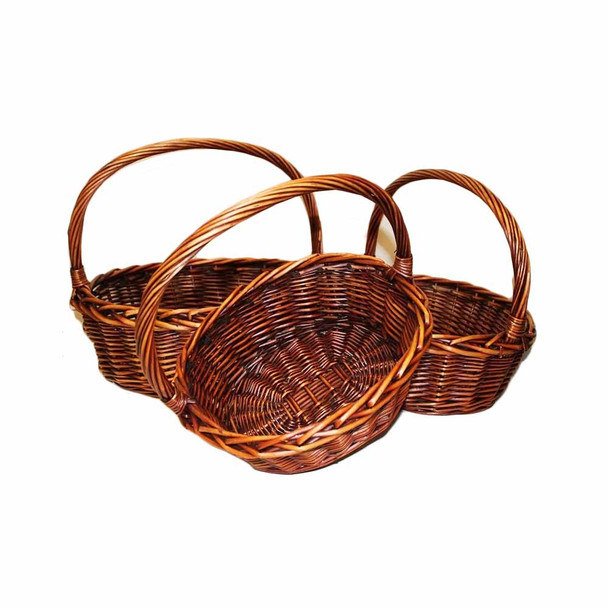 """18"""" Oval Stain Basket Set of 3"""