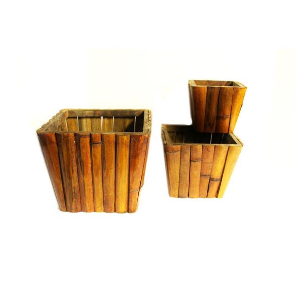 Square Wood Basket Set of 3