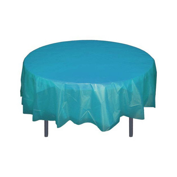 """84"""" Turquoise Round Plastic Table Cover"""