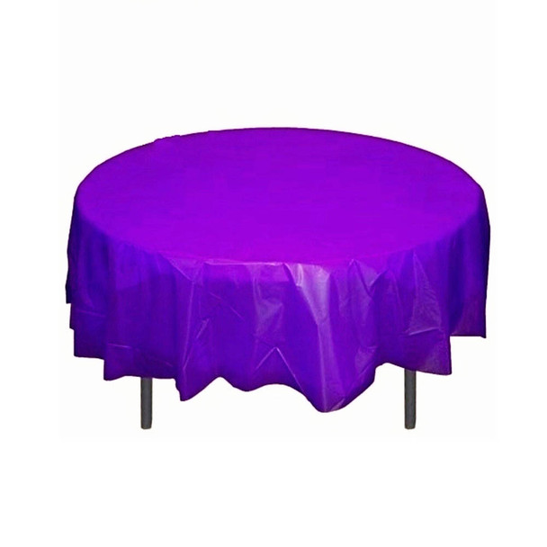 "84"" Purple Round Plastic Table Cover"