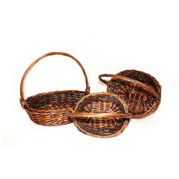 Round Stained Willow Basket  With Handle Set of 3