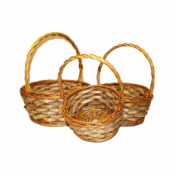 Round  L.Honey Willow Basket With Handle Set of 3
