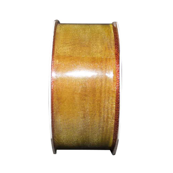 "1.5"" Gold Metallic Sheer Ribbon"