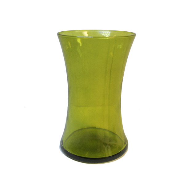 "8""H Olive Gathering Glass Vase"