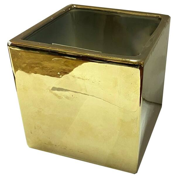 """5"""" Gold Ceramic Cube"""