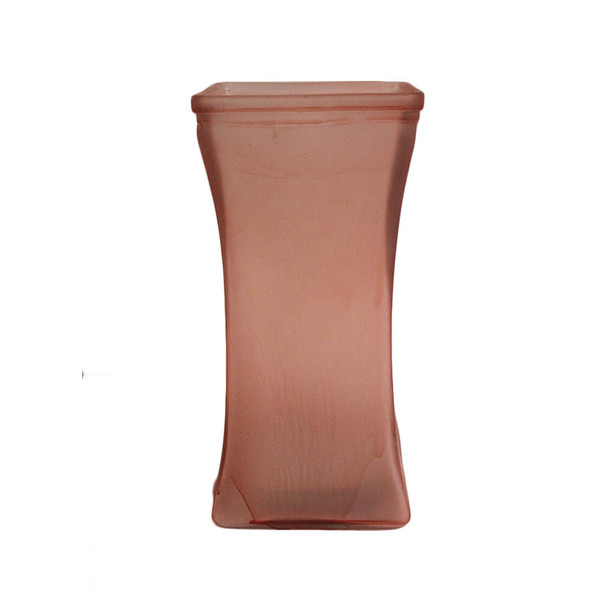 "9""H Pink Tapered Glass Square Vase"