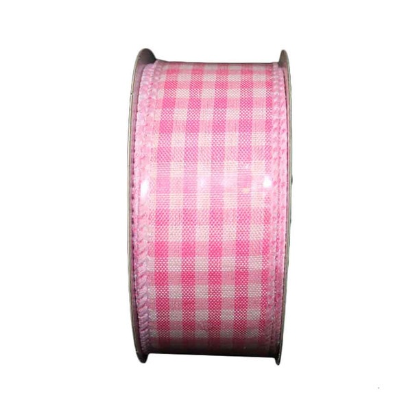 "1.5"" White and Pink Checkered Ribbon"
