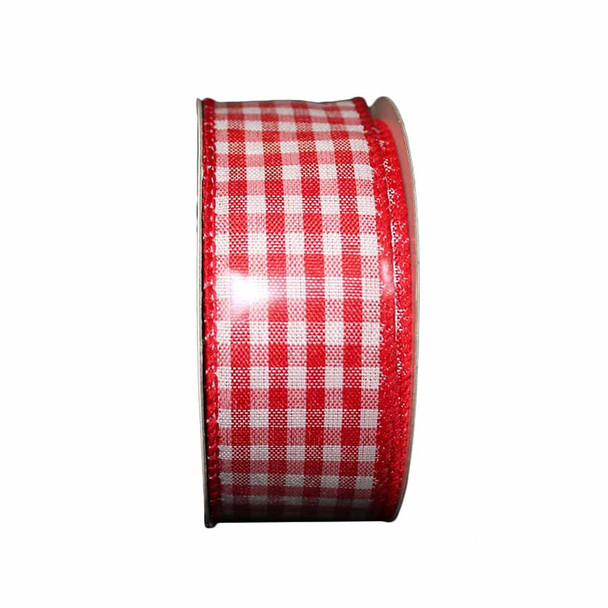 """1.5"""" White and Red Checkered Ribbon"""