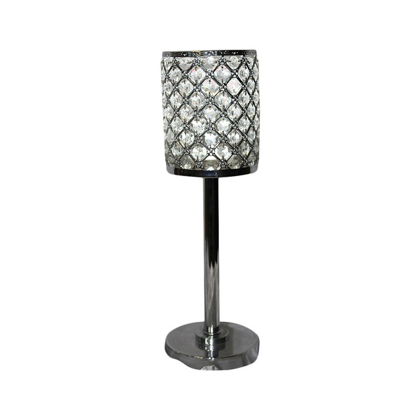 """18"""" Silver/Clear Crystal Candle Holder"""