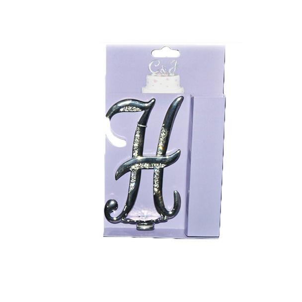 """4"""" -H- Silver Rhinestone Cake Topper"""