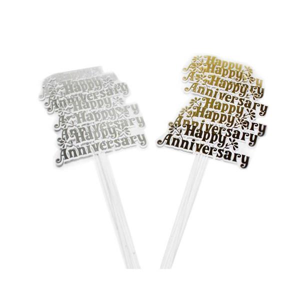Plastic Gold/Silver Happy Anniversary Pick