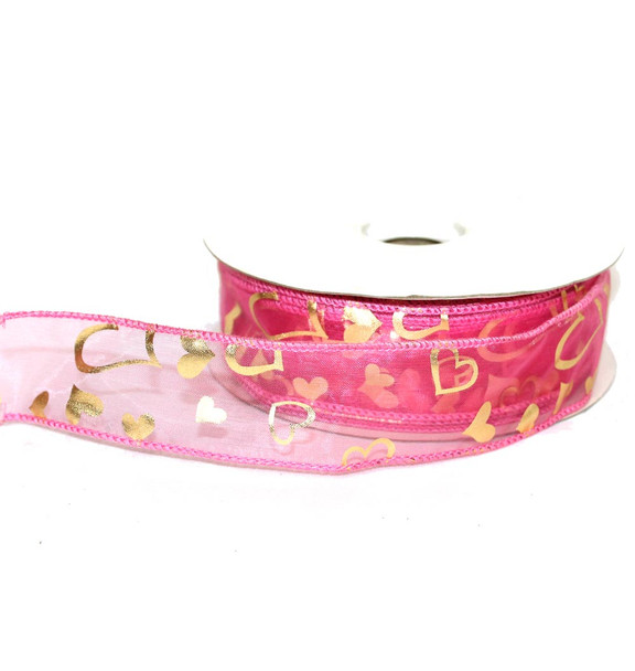 "1.5"" Foil Hearts Sheer Ribbon"