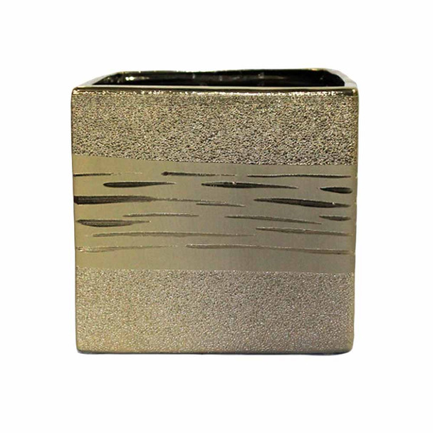 """6"""" Frosted Gold Ceramic Cube"""