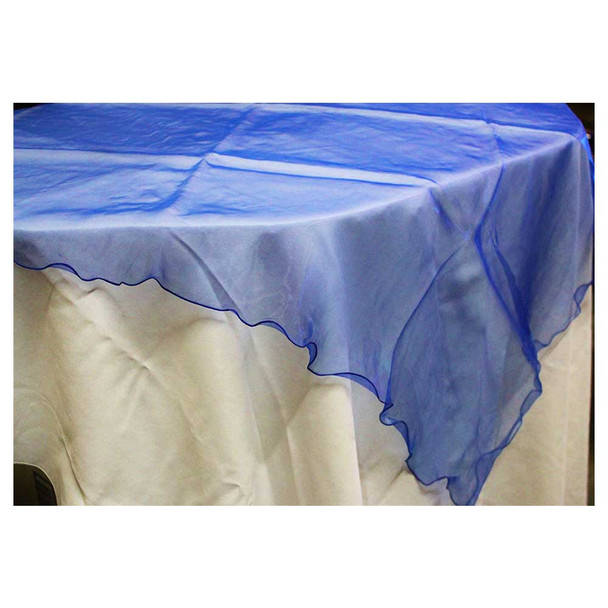 """80"""" Royal Blue Square Organza Table Cover"""