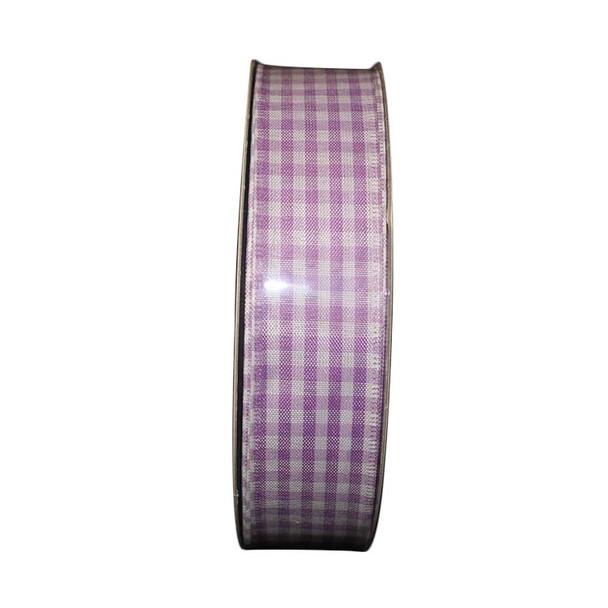 "1.5"" White and Lavender Checkered Ribbon"