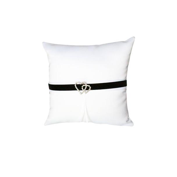 White and Black Ring Bearer Pillow