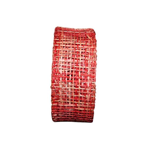 """2"""" Red Abaca Burlap Ribbon"""