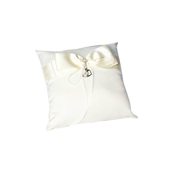 Ivory Ring Bearer Pillow with Heart Charm