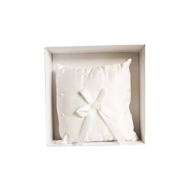 White Beaded Ring Bearer Pillow