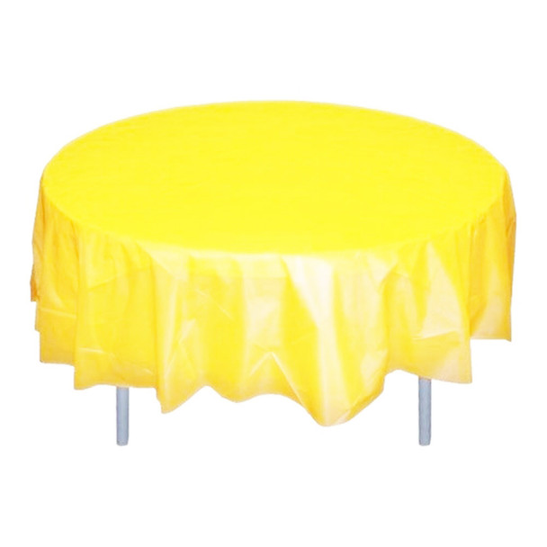 """84"""" Yellow Round Plastic Table Cover"""