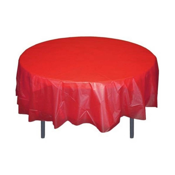 "84"" Red Round Plastic Table Cover"