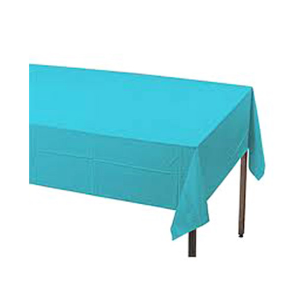 "108"" x 54"" Turquoise Rectangular Plastic Table Cover"