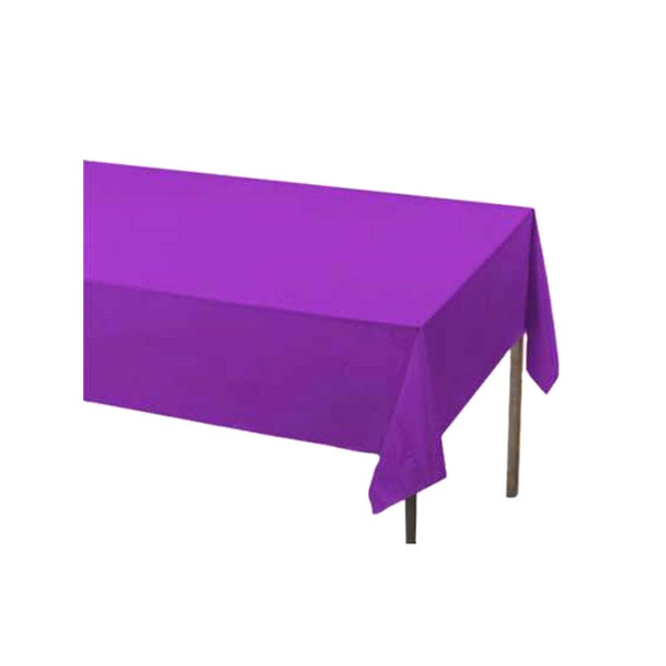 "108"" x 54"" Purple Rectangular Plastic Table Cover"