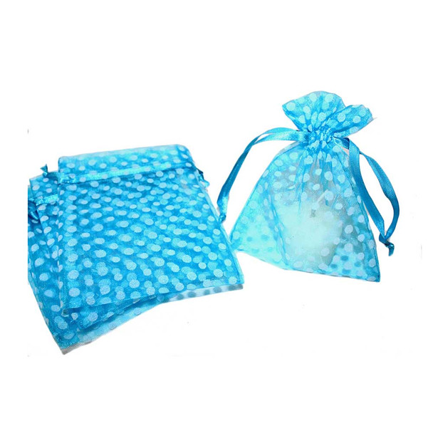 "4"" Turquoise & White Polka Dotted Organza Pouch"