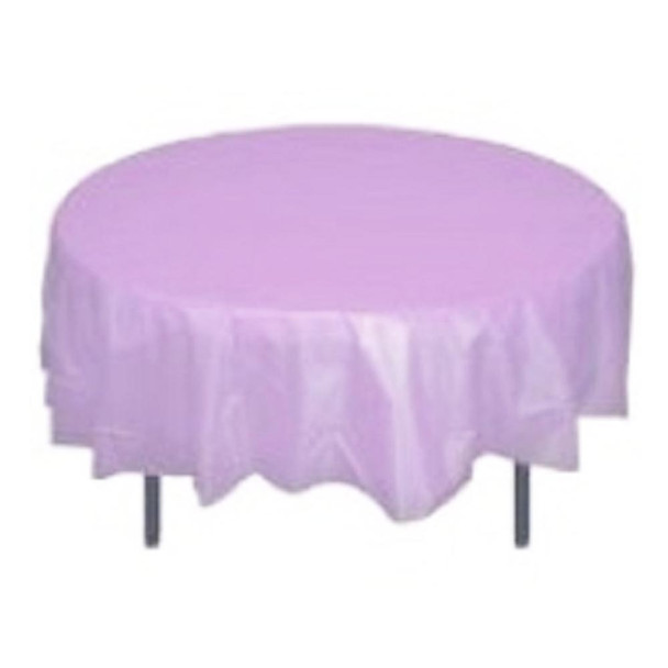 "84"" Lavender Round Plastic Table Cover"