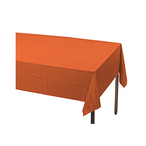 "108"" x 54"" Orange Rectangular Plastic Table Cover"