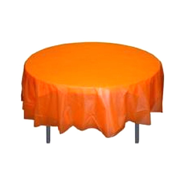 "84"" Orange Round Plastic Table Cover"