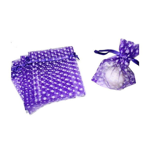 "4"" Purple & White Polka Dotted Organza Pouch"