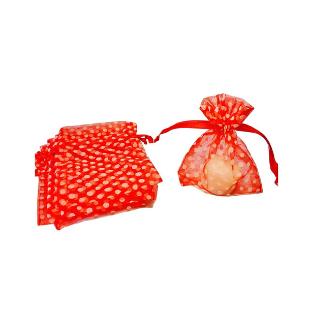 "4"" Red & White Polka Dotted Organza Pouch"