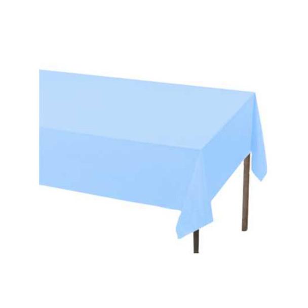 """108"""" x 54"""" Light Blue Rectangular Plastic Table Cover"""