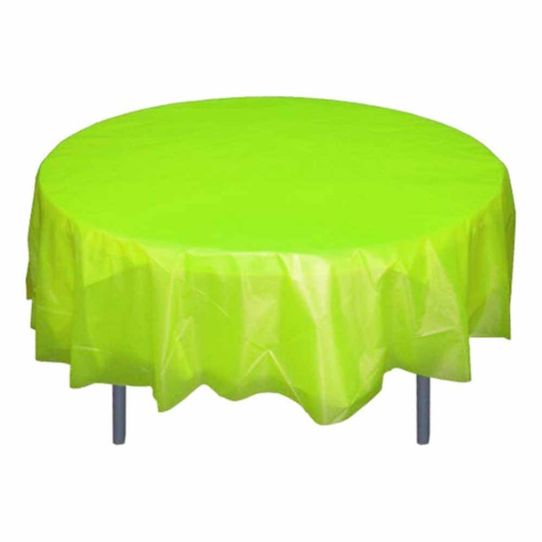 "84"" Apple Green Round Plastic Table Cover"
