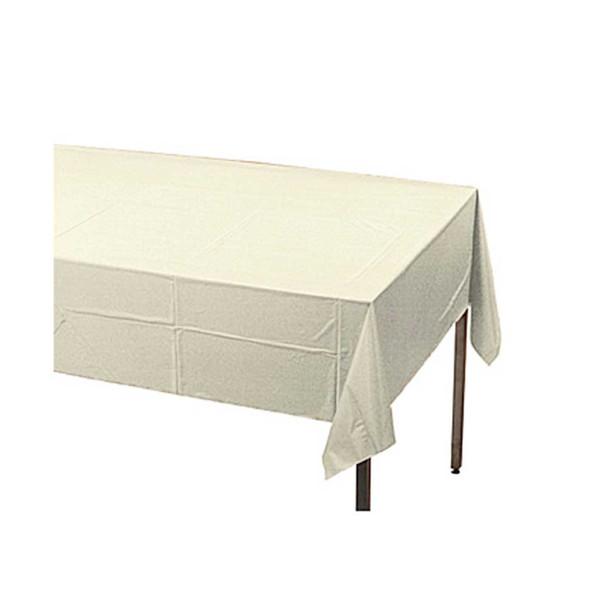 "108"" x 54"" White Rectangular Plastic Table Cover"