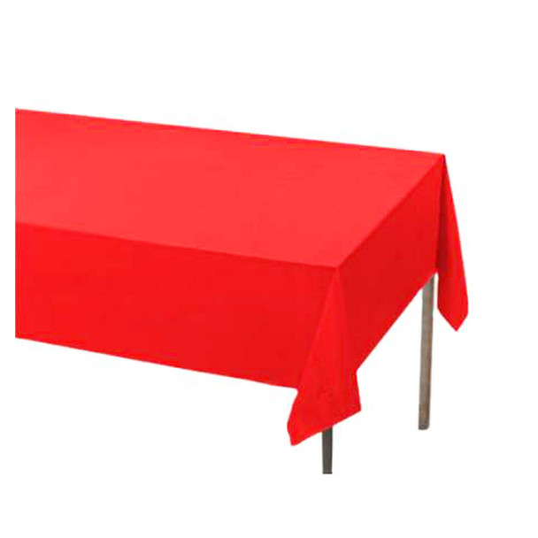 "108"" x 54"" Red Rectangular Plastic Table Cover"