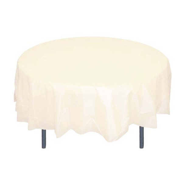 """84"""" Ivory Round Plastic Table Cover"""