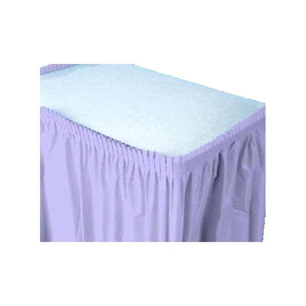 14 Ft  Lavender Plastic Table Skirt