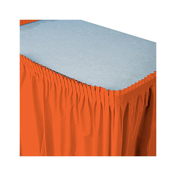 14 Ft  Orange Plastic Table Skirt