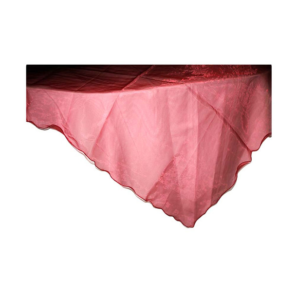 """80"""" Burgundy Square Organza Table Cover"""