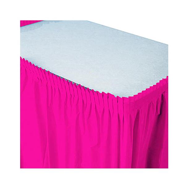 14 Ft  Fuchsia Plastic Table Skirt
