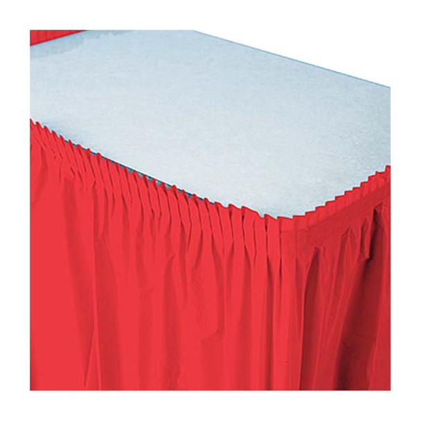 14 Ft  Red Plastic Table Skirt