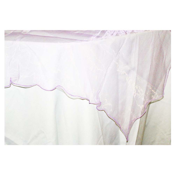 "80"" Lavender Square Organza Table Cover"