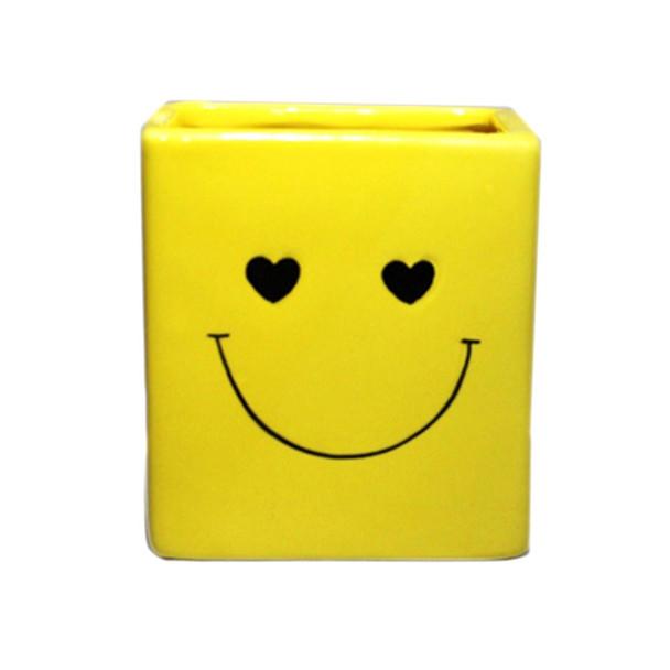 """3.25"""" H Happy Face Ceramic Cube"""