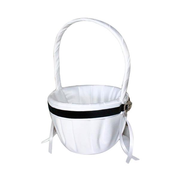 """6"""" White And Black Satin Flower Girl basket"""