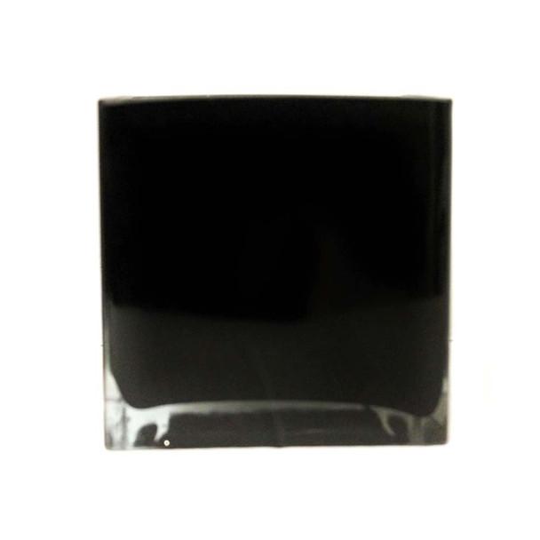 "4""H Black Glass Square Vase"