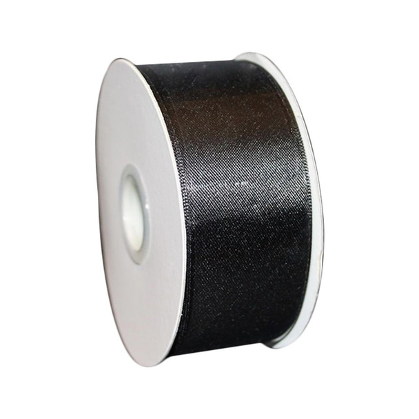 "1.5"" x 25 Yd Black Double Faced Satin Ribbon"